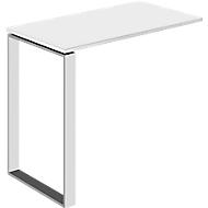 Aanbouwtafel Nizza, met wit glas, D 848 mm, voor bureautafel Nizza, wit mat/wit matglas