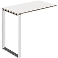 Aanbouwtafel Nizza, met wit glas, D 848 mm, voor bureautafel Nizza, zand/wit matglas