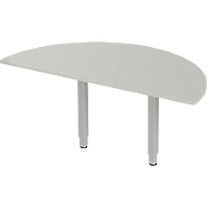 Aanbouwtafel PLANOVA ERGOSTYLE, 1/2 cirkel, lichtgrijs/blank aluminium