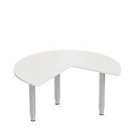 Aanbouwtafel PLANOVA ergoSTYLE, 3/4 cirkel, aanbouw rechts of links, lichtgrijs/blank aluminium