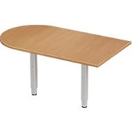 Aanbouwtafel PLANOVA ERGOSTYLE, boog, beukenpatroon/blank aluminium