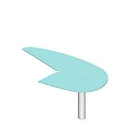 Aanbouwtafel X-TIME-WORK, poot ronde buis, met ronde boog rechts, 960 x 1850 x 740 mm, voor bureautafel B 2000 mm, glas/wit
