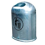 Abfallbehälter oval, 45 Liter, ohne selbstschließende Edelstahlklappe, feuerverzinkt