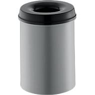 Abfallsammler 15 L selbstlöschend, Korpus alufarbig/Deckel schwarz