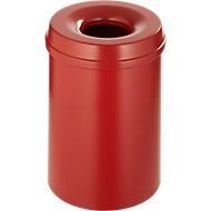 Abfallsammler 15 L selbstlöschend, Korpus rot/Deckel rot