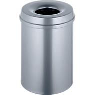 Abfallsammler 15 L selbstlöschend, Korpus silber/Deckel silber