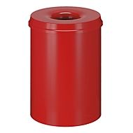 Abfallsammler für Innenanwendung, 50 L, selbstlöschend, Korpus rot/Deckel rot