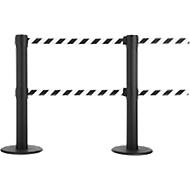 Absperrpfosten GLA 89, Doppelgurt mit jeweils Länge 9 m, 3-fach andockbar, schwarz/weiß