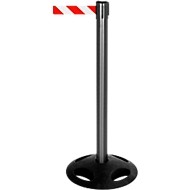 Absperrpfosten RS-Guidesystems GLA 25,  schwarz, Gurt rot/weiß, 2 Stück
