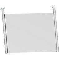 Achterwand, voor bureau B 800 mm, H 466 mm, wit aluminium