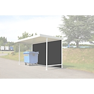 Achterwand voor het daksysteem WSM Leipzig Basic & opbouw, B 4300 mm, trapeziumplaat, gr.w., WSM Leipzig, trapeziumplaat, gr. RAL 9002