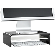 Acryl-mediadrager U-vorm met legbord, 350 x 230 x 100 mm, zwart/wit
