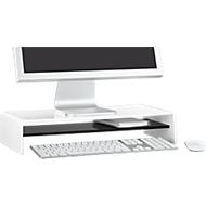 Acryl-mediadrager U-vorm met legbord, 500 x 230 x 100 mm, wit/zwart