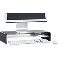 Acryl-mediadrager U-vorm met legbord, 500 x 230 x 100 mm, zwart/wit