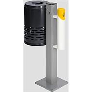 Afvalbak/asbak-combinatie, antraciet/wit/geel