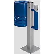 Afvalbak/asbak-combinatie, gentiaanblauw/gentiaanblauw/zilver