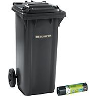 Afvalbak GMT, 120 l, verrijdbaar, antraciet + afvalzakken voor zwaar afval
