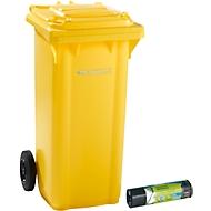 Afvalbak GMT, 120 l, verrijdbaar, geel + afvalzakken voor zwaar afval