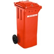Afvalcontainer GMT, 80 liter, met cilinderslot, rood