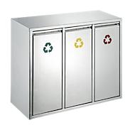 Afvalsorteersysteem van rvs, 3 x 8 l