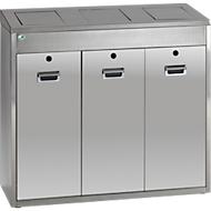 Afvalsorteersysteem VAR 3 x 48 liter, rvs