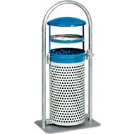 Afvalverzamelaar, met asbakinzet, blauw/wit