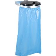 Afvalzakhouder voor montage aan de wand + 10 Secolan® afvalzakken, gerecycled polyetheen, 120 liter, blauw, 10 stuks