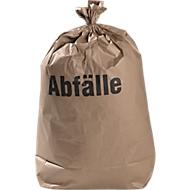 Afvalzakken papier of archiefzakken, tegen vocht bestand en biologisch afbreekbaar, B 700 x H 950 mm, 120 liter, 100 stuks