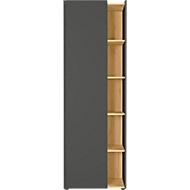 Aktenschrank Austin, 5 OH, B 620 x T 420 x H 1880 mm, 4 feste Böden, 5 offene Fächer, graphit/Eiche