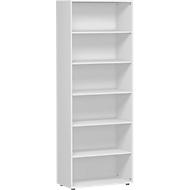 ALICANTE boekenkast, 6 OH, 5 legborden, B 800 x D 400 x H 2160 mm, lichtgrijs