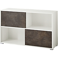 ALTINO wand boekenkast, 4 vakken, 2 schuifdeuren, B 1200 x D 360 x H 740 mm, basalt donkerbruin/wit