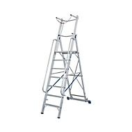 Alu-Stufen-Stehleiter, mit großer Standplattform, mit Sicherheitsbügel und Kette, 4 Stufen