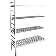 aluminium legbordstelling, aanbouwsectie, met 4 roosterborden van kunststof, H 1950 x B 1000 x D 400 mm