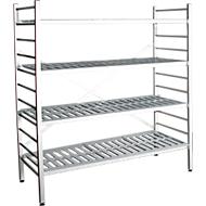 aluminium legbordstelling, basissectie, met 4 roosterborden van kunststof, H 1800 x B 1200 x D 400 mm