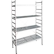 aluminium legbordstelling, basissectie, met 4 roosterborden van kunststof, H 1800 x B 800 x D 400 mm