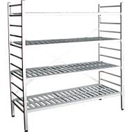 aluminium legbordstelling, basissectie, met 4 roosterborden van kunststof, H 1950 x B 1500 x D 400 mm