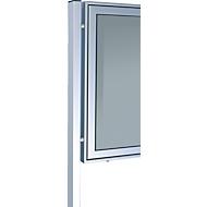 aluminium staanders set, rechthoekige buis, met voetplaat, 80x40x2150 mm, aluminium zilver