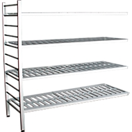 Aluminium-Steckregal, Anbaufeld, mit 4 Kunststoff-Rost-Fachböden, H 1800 x B 1500 x T 400 mm