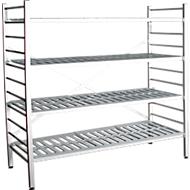 Aluminium-Steckregal, Grundfeld, mit 4 Kunststoff-Rost-Fachböden, H 1800 x B 1500 x T 400 mm