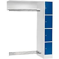 Anbaueinheit, Schließfach-Garderobe, Säule S 4/4, lichtgrau/enzianblau