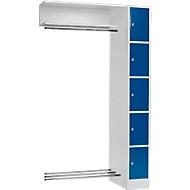Anbaueinheit, Schließfach-Garderobe, Säule S 5, lichtgrau/enzianblau