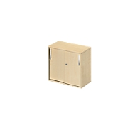 Ansatz-/Aufsatz-Schiebetürenschrank LOGIN, 2 Ordnerhöhen, B 800 x T 420 x H 726 mm, Ahorn Dekor/Ahorn Dekor