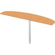Ansatztisch, 1-Fuß, Ellipsenform, Ansatz rechts, B 1600 x T 400 mm, Buche/weißalu