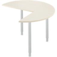 Ansatztisch, 3/4 Kreis, Ø 1200 mm, Ansatz rechts/links, Ahorn/weißalu