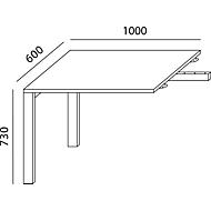 Ansatztisch LOGIN, 4-Fuß, Rechteck, B 1000 x T 600 x H 740 mm, lichtgrau