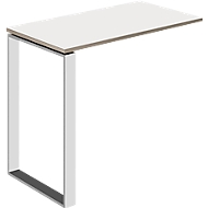 Ansatztisch Nizza, mit Weißglas, T 848 mm, für Schreibtisch Nizza, sand/weißglas matt