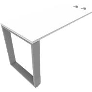Ansatztisch QUANDOS BOX, Kufengestell, Rechteck, B 1200 x T 600 x H 720 - 820 mm, weiß