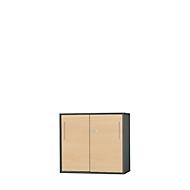 Anstell-/Aufsatz-Schiebetürenschrank Start Up, in Tischhöhe, abschließbar, B 800 x T 420 x H 726 mm, graphit/ahorn