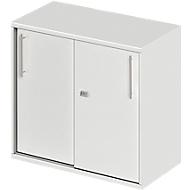 Anstell-/Aufsatz-Schiebetürenschrank Start Up, in Tischhöhe, abschließbar, B 800 x T 420 x H 726 mm, lichtgrau/lichtgrau
