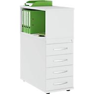 Anstellcontainer LOGIN, mit Aufsatzregal, 4 Schübe, B 409 x T 800 x H 1120 mm, Holz, abschließbar, lichtgrau/lichtgrau